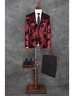 Red Patterns Tailored Fit Polyester Suit - Peak Single Breasted One-button