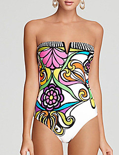 dear-lover Women's Print One-piece Swimwear,Polyester Spandex White