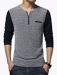 Menn Fritid / Arbeid / Plusstørrelse Lapper T-skjorte,Bomull / Polyester Langermet-Blå / Hvit