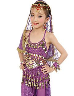 Dança do Ventre Roupa Crianças Actuação Cetim Chifom Poliéster Moedas de Ouro 7 Peças Sem Mangas NaturalBlusa Calças Cinto Braceletes