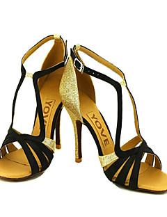 hesapli -Kadın's Latince Salsa Balo Saten Sandaletler Toka Kurdele Bağcık Kişiye Özel Pembe Mavi Sarı Fuşya Mor Kişiselleştirilmiş