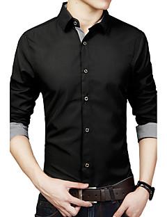 billige Plus Størrelser-Herre-Klassisk krave Herre - Ensfarvet Bomuld Plusstørrelser Skjorte