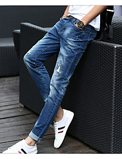 Men's Mid Rise Micro-elastic Jeans Pants,Casual Solid Cotton All Seasons