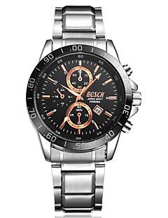 billige Rustfrit stål-Herre Quartz Armbåndsur Kalender Vandafvisende Rustfrit stål Bånd Afslappet Mode Sølv