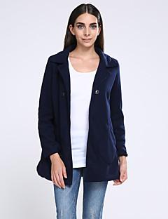 Dámské Jednobarevné Velké velikosti Kabát-Polyester Zima Košilový límec Dlouhý rukáv Modrá / Růžová / Žlutá / Fialová Tlusté