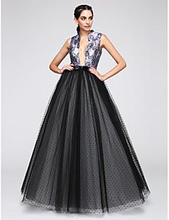 Aライン Vネック フロア丈 サテン チュール フォーマルイブニング ドレス とともに パターン/プリント 〜によって TS Couture®