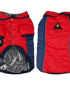 billiga Hundkläder-Hund Kappor Hundkläder Färgblock Gul Röd Cotton Kostym För husdjur Herr Dam Vändbar Håller värmen