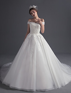 Ball Gown Off-the-shoulder Court Train Tulle Wedding Dress with Beading Appliques by DRRS