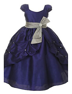 Ball Gown Floor Length Flower Girl Dress - Organza Taffeta Short Sleeves Scoop Neck with Beading Bow(s) Crystal Detailing Sash / Ribbon by