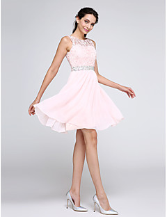 A-Line Jewel Neck Knee Length Chiffon Lace Cocktail Party Homecoming Prom Dress with Beading Lace by TS Couture®
