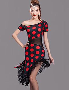 Latein-Tanz Kleider Damen Vorstellung Milchfieber Gepunktet 1 Stück Kurze Ärmel Normal Kleid