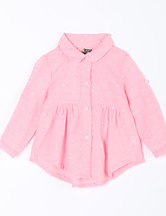Baby Daily Solid Blouse-Cotton-Fall-Pink