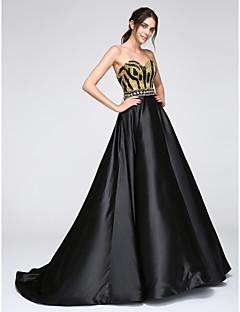 billige Paljettkjoler-A-linje Kjære Gulvlang Sateng Formell kveld Kjole med Paljett av TS Couture®