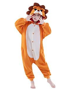 Kigurumi Pyjamas Leijona Kokopuku Yöpuvut Asu Polar Fleece Oranssi Cosplay varten Lapset Animal Sleepwear Sarjakuva Halloween Festivaali