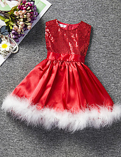 Girl's Party/Cocktail Solid Dress,Polyester Summer Red