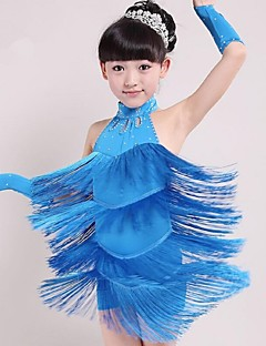 cheap Kids' Dancewear-Latin Dance Outfits Performance Spandex Tassel Sleeveless Natural Dress