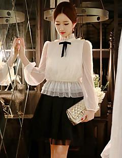 dabuwawa vrouwen uitgaan / casual / vintage / leuke / verfijnde blouse, vaste stand met lange mouwen