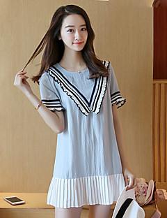 여성의 쉬폰 드레스 캐쥬얼/데일리 심플 패치 워크,U 넥 무릎 위 짧은 소매 블루 폴리에스테르 여름