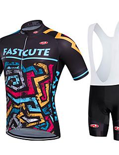 Fastcute Sykkeljersey med bib-shorts Dame Herre Barn Unisex Kortermet SykkelSykkelshorts Med Seler Genser Jersey Tights Med Seler