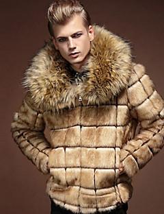 Men's Daily Winter Fur Coat,Solid Plaid Long Sleeves Regular