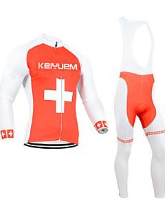 billige Sykkelklær-KEIYUEM Langermet Sykkeljersey med bib-tights - Svart Britisk Sykkel Klessett, 3D Pute, Hold Varm, Fort Tørring, Pustende Coolmax Fleece