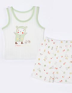 赤ちゃん カジュアル/普段着 アニマルプリント コットン,アンサンブル 夏-ホワイト