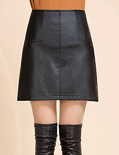 Χαμηλού Κόστους A Line Retro Skirts-Γυναικεία Μεγάλα Μεγέθη Γραμμή Α Φούστες - Μονόχρωμο