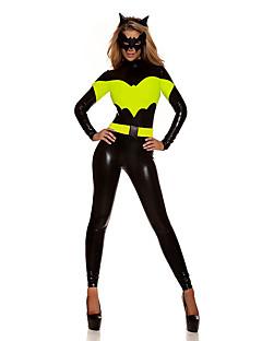 billige Zentai-Superhelter Batter Cosplay Kostumer Dame Film-Cosplay Grønn Trikot / Heldraktskostymer Maske Jul Halloween Nytt År polyester