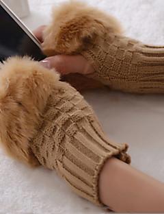 baratos Acessórios de Inverno-Mulheres Fofo Lã Meio Dedo Luvas