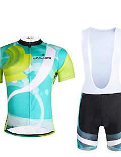 billige Sykkelklær-ILPALADINO Herre Kortermet Sykkeljersey med bib-shorts Sykkel Klessett, Fort Tørring, Ultraviolet Motstandsdyktig, Pustende, Refleksbånd,
