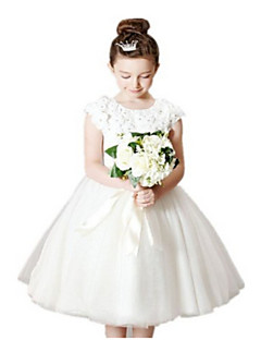 Ball Gown Tea Length Flower Girl Dress - Tulle Short Sleeves Jewel Neck with Applique by AIMITE