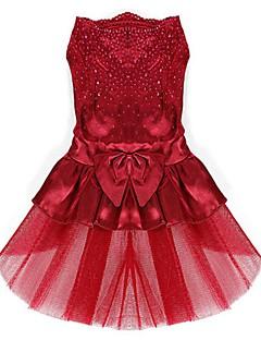 billiga Hundkläder-Hund Klänningar Hundkläder Rosett Röd Blå Rosa Brun Chiffong Terylen Kostym För husdjur Dam Gulligt Födelsedag Bröllop