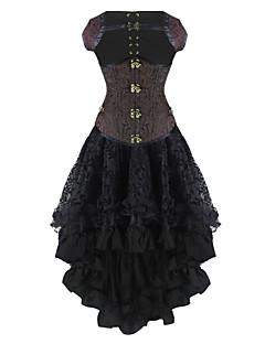 cheap Women's Lingerie-Burvogue Women's Dobby Gothic Steampunk Steel Boned Underbust Corset Dress