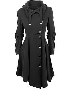 Vrouwen Eenvoudig / Street chic Winter Jas,Casual/Dagelijks Overhemdkraag-Lange mouw Zwart Effen Medium Katoen