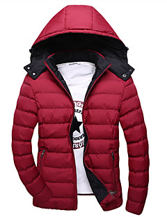 Men's Regular Padded Coat Daily Solid-Cotton Without Filling Material Long Sleeves