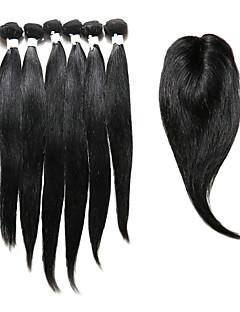 Hårstykke med lukning Indisk hår Lige 12 måneder 7 Dele hår vævninger