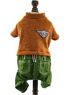 billiga Hundkläder-Hund Jumpsuits Hundkläder Färgblock Mörkblå Brun Röd Cotton Jeans Kostym För husdjur Herr Mode