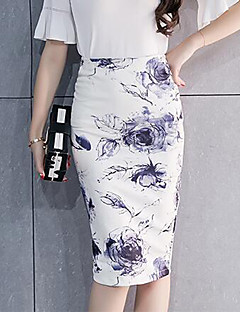 Women's Going out Knee-length Skirts,Chinoiserie Bodycon Split Floral Print Spring Fall