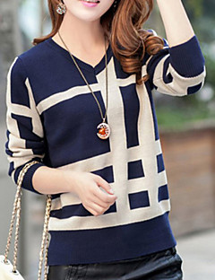 baratos Suéteres de Mulher-Mulheres Manga Longa Lã Pulôver - Geométrica Lã