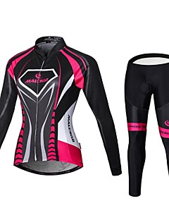 cheap Cycling Jersey & Shorts / Pants Sets-Malciklo Women's Long Sleeves Cycling Jersey with Tights - Black/Pink British Bike Bib Tights Jersey Clothing Suits, 3D Pad, Quick Dry,