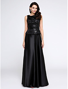 A-Line Scoop Neck Floor Length Stretch Satin Formal Evening Dress with Sequins by TS Couture®