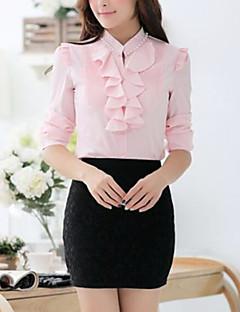 Damen Solide Einfach Formal Hemd,Rundhalsausschnitt Frühling Herbst Langarm Dünn