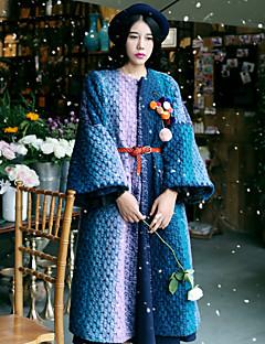 Χαμηλού Κόστους WHISPER WHEAT-Γυναικεία Παλτό Εξόδου Κομψό στυλ street Ριγέ,Μακρυμάνικο Στρογγυλή Λαιμόκοψη Χοντρό Χειμώνας Μαλλί / Νάιλον Μπλε