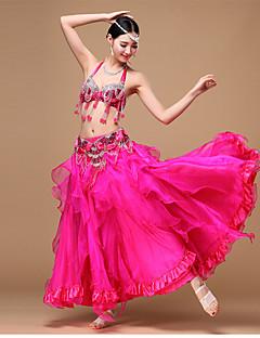Dança do Ventre Roupa Mulheres Actuação Chiffon Poliéster Organza Lantejoulas Miçangas Franzido Pano Plissado 3 Peças Sem Mangas Caído