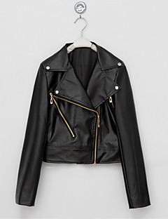 Women's Casual/Daily Street chic Fall / Winter Leather JacketsSolid Shirt Collar Long Sleeve Black PU Medium