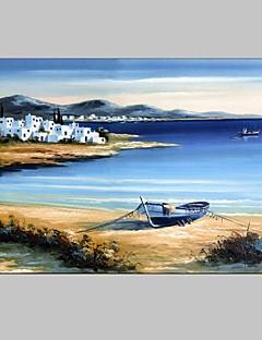 tanie Pejzaże abstrakcyjne-Hang-Malowane obraz olejny Ręcznie malowane - Krajobraz Nowoczesny / Fason europejski Płótno / Rozciągnięte płótno