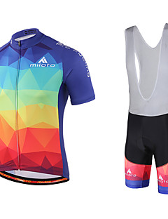 billiga Cykling-Miloto Herr Kortärmad Cykeltröja med Haklapp-shorts - Svart Cykel Bib Shorts / Tröja / Bib Tights, Snabb tork, Andningsfunktion, Svettavvisande Polyester, Lycra Gradient / Elastisk / SBS Blixtlås
