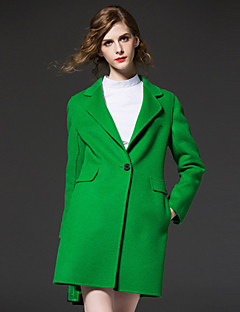 シンプルなcoatsolidノッチラペル長袖の秋/冬の赤/緑ウール/ポリエステル媒体を外出frmz女性の