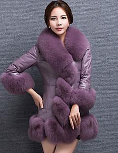 رخيصةأون الفرو و الجلد-للمرأة طويلة Vest يوميا ذهاب للخارج قديم سادة شتاء خريف مع قبعة فرو الثعلب