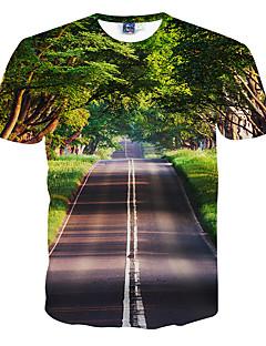 Herren T-shirt-Druck Freizeit / Formal / Sport Polyester Kurz-Grün